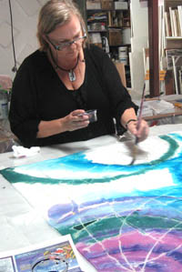 Silk scarf painting - Marie