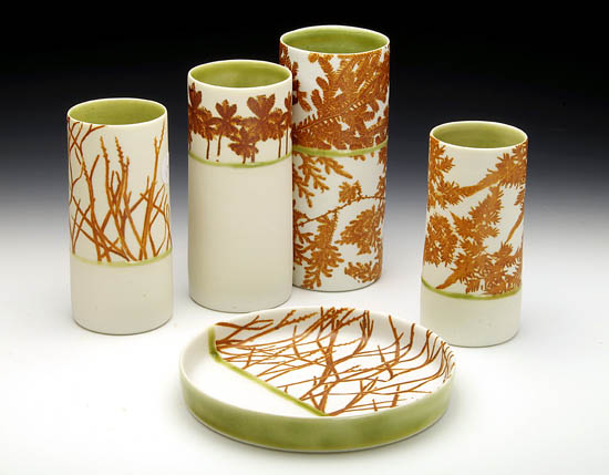 Porcelain forms by Mollie Bosworth