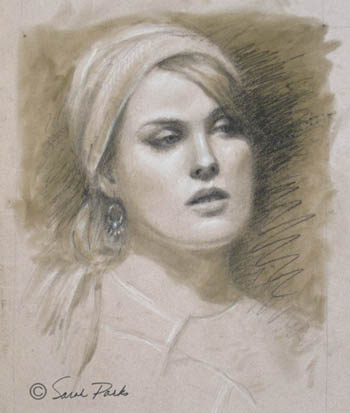 'The Earring' pencil drawing by Sarah Parks