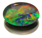 fiery black opal, multi coloured, oval cut