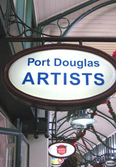 Sign outside Port Douglas Artists' gallery