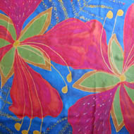 red poinciana flower handpainted on silk - blue background