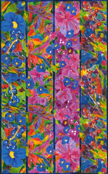 Four silk scarves designs combined to make a wrap or sarong.