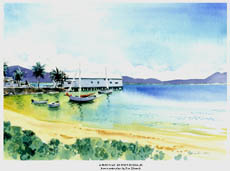 Watercolour painting of the beach and sugar wharf in Port Douglas