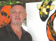 Ross Bannister with koi paintings