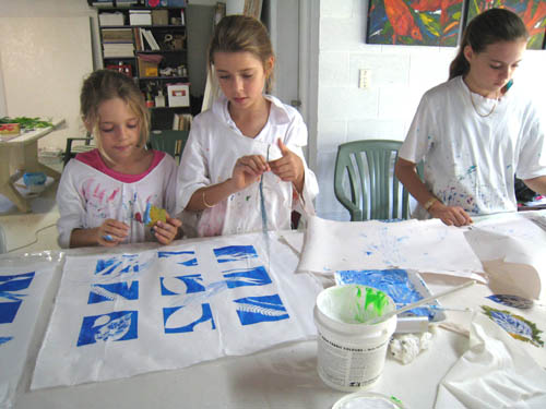 Olivia, Jasmin and Lucinda screenprint leaf designs