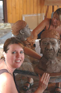 portraits in clay workshop at Port Douglas