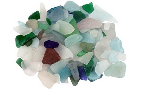 Greens, blues and whites - seaglass tumbled by the ocean