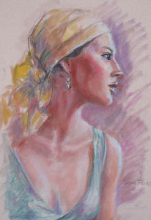 'Caribbean Girl' pastel drawing