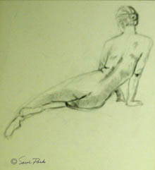 Back of reclining nude figure in pencil on light green paper