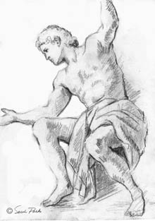 draped, seated male figure, one arm raised
