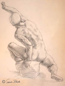 'Reaching Up' drawing of male figure on pink paper