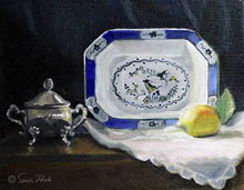 Still Life, silver sugar bowl, blue and white rectangular serving platter