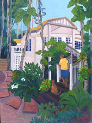 'Queenslander' house, oil painting by Tania Heben