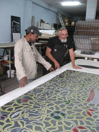 Large aboriginal lino print with Theo Tremblay