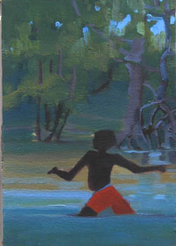 Exploring The Mangroves 1 - oil painting of aboriginal boy walking in water through mangroves