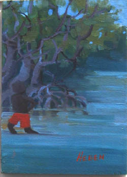 Exploring The Mangroves 2 - oil painting on canvas board, blues and greens, aborginal boy in red shorts