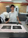 Kara with her intaglio print and plate