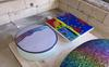 Fusing & slumping workshop, glass on molds in the kiln ready for slumping
