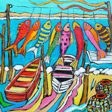 Day's Catch -colourful fish hung on line above dinghys