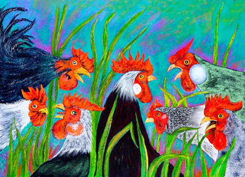Gossip - black and white roosters and hens with bright red combs and wattles gather in green grass for an animated chat.