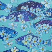 Tropical Blues - blue fish and pale blue hibiscus in aqua water