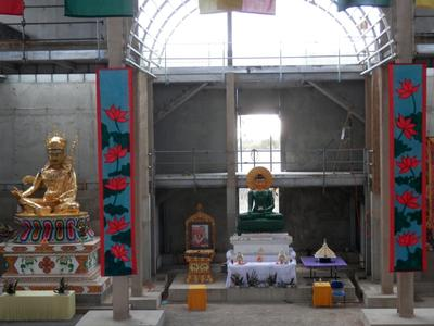 Inside the great Stupa Lotus Banners