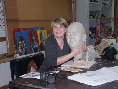 Amanda Waters and sculpture of her Dad