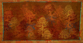 wall hanging of waratah flowers in autumn tonings