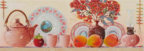 'On The Shelf 2' - still life linoblock print in reds and oranges with mangoes and red-gum flowers