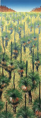 green and black grassboys growing in yellow ochre grass , red hills in distance - detail of linoprint