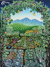 'Into the Garden' - vegetable garden, orchard and hills framed by archway of plants - linoprint detail;