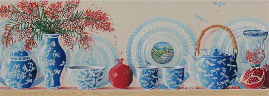 ''On the Shelf' - linoblock uses pale blues to present image of chinese ginger jars, teapots, cups, plates and vases in a line on a shelf.