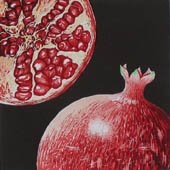 pomegranate - red seeds inside fruit, tough outer skin