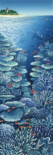 coral in blue water nearLow isles - detail of linoprint
