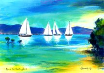 Watercolour painting of yachts sailing in the inlet at Port Douglas