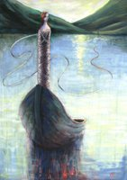 Painting, 'Connective Tissue' depicts a woman standing in a boat on a lake or ocean, bound head to toe in ribbons that link back to the hills beyond