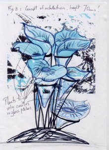 Judith Bohm-Parr's sketch of blue lily sculpture
