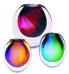 Orange, purple and green glass 'Eclipse' vases