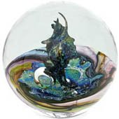 glass paperweight - clear with burnished greens