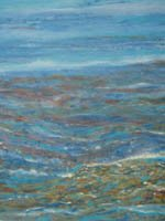 Semi abstract oil and acrylic painting of blue waves curling and moving onto a tropical beach.