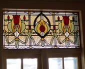 leadflight 'art deco' stained glass panel above door