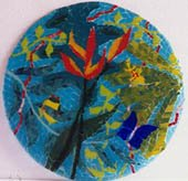 heliconia plate, bright colours, production work