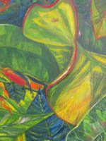 High quality giclee print of croton leaves - greens with contrasts of blues and reds.