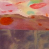 abstract landscape on silk - muted reds and pinks - brighter sky