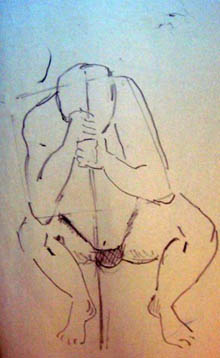 Judy Richards, male figure squatting, head down