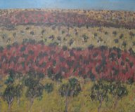painting of distant inland scene - semi abstracted