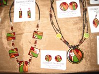 Assorted brightly coloured coconut necklaces and earrings