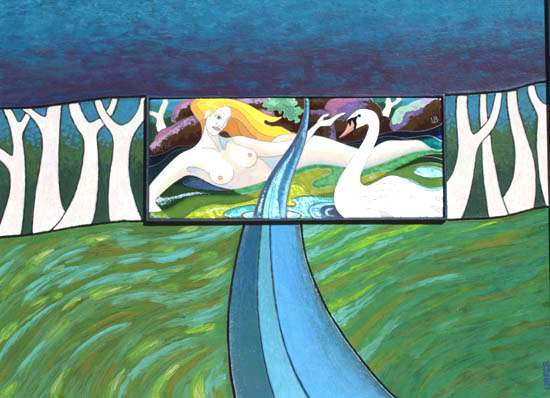 Acrylic and enamel painting, Leda and the Swan float in a river set in the forest