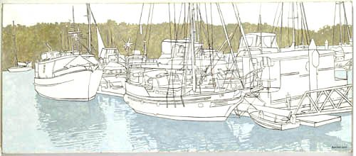 Drawing of boats in the inlet, Port Douglas